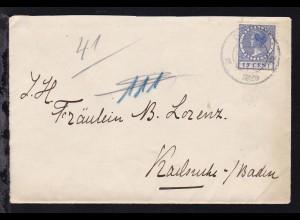 1926 Brief ab Delft/Niederlande nach Karlsruhe/Baden ohne Straßenangabe mit rs