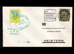 """1960 R3 Geflogen mit Z.R. 51 """"Eifel"""" auf Brief"""