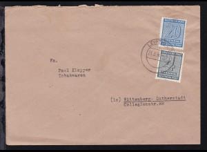 Ziffer 4 Pfg. und 20 Pfg. auf Brief ab Leipzig 21.3.46 nach