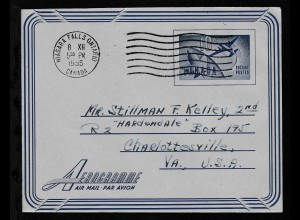 Aerogramm 10 C. ab Niagara Falls Ontario 8.XII.1955 nach Charlottesville/USA