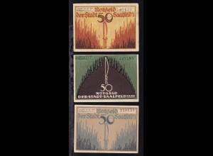 Saalfeld 1921 3 verschiedene Notgeldscheine a 50 Pfg.