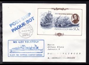 L2 POST-SHIP PAQUEBOT + OSt. Bremerhaven 5.9.92 + Cachet MS Lev Tolstoij