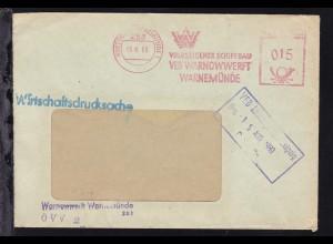 Rostock 1980/82 3 Briefe mit Absenderfreistempel VEB Warnowwerft Warnemünde