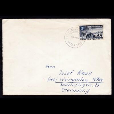 Antarktisforschung 8 P. auf Brief mit K1 DAVIS A.N.A..RE. AUST. ANTARCTIC TERR.