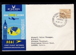 BOAC-Erstflug-Brief Auckland-London 6.4.1963