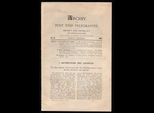 """""""Archiv für Post und Telegraphie"""" Beiheft zum Amtsblatt des Reichs-Postamts,"""