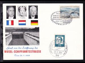 1964 Sonderpostkarte zur Eröffnung der Mosel-Schiffahrtsstrasse mit