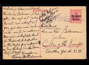 Germania 10 Pfg. mit Aufdruck Belgien 10 Cent. ab Antwerpen nach Cöln-Braunsfeld
