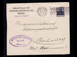 Germania 20 Pfg. mit Aufdruck Belgien 25 Centimes auf Briefvorderseite