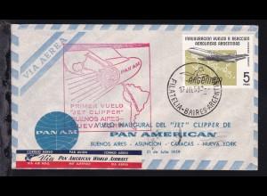 PAN AM Erstflugbrief Buenos Aires-New York 17. JUL 59