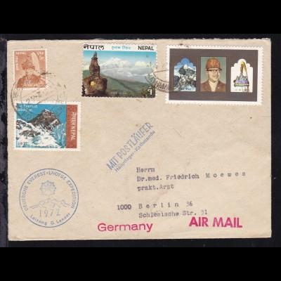 Luftpostbrief ab Katmandu 22.3.72 nach Berlin mit K1 DEUTSCHE EVEREST-LHOTSE