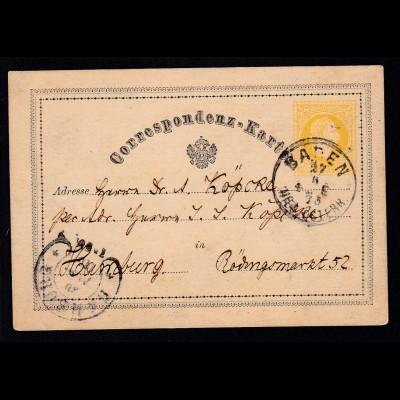Hufeisen-Stpl. HAMBURG 30 AUG 75 als Ankunftsstempel auf Ganzsache aus Baden/