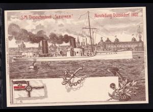 """SM Depeschenboot """"Sleipner"""", Karte zur Ausstellung Düsseldorf 1902"""