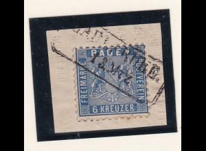 Wappen 6 Kr. auf Briefstück mit R2 CARLSRUHE 13 Mrz
