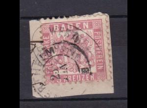 Wappen 3 Kr. auf Briefstück mit Ovalstempel WERTHEIM DERTINGEN POSTABL. + K2