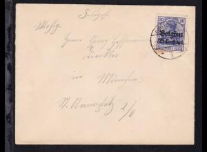 Germania 25 Centimes auf Brief ab Brüssel nach München
