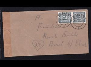 Ziffer 12 Pfg. senkr. Paar auf Brief ab Goslar 28.6,46 nach Assel bei Stade