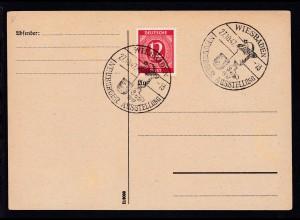 Wiesbaden Sonderstempel WIESBADEN NEUBURGER AUSSTELLUNG 27.10.47 auf Postkarte