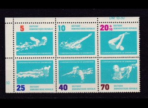 Schwimm-Europameisterschaft Leipzig 1962 Eckrand-Sechserblock **