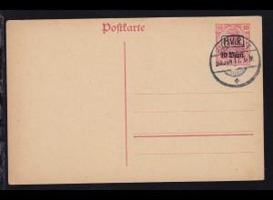 Germania 10 Pfg. mit Aufdruck M.V.i.R. 10 Bani mit Blanko-Stempel BUKAREST