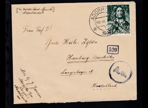 Brief ab Adorp/Niederlande 19.VI.1944 nach Hamburg-Nienstedten mit Zensur,