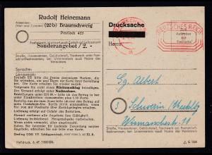 Freistempel BRAUNSCHWEIG 1 ab 8.4.48 DEUTSCHES REICH 6 auf Postkarte