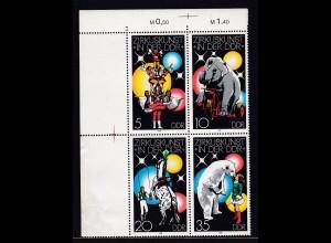 Zirkuskunst in der DDR (I) Eckrandviererblock links oben **,