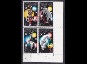 Zirkuskunst in der DDR (I) Eckrandviererblock rechts unten mit 2365I **
