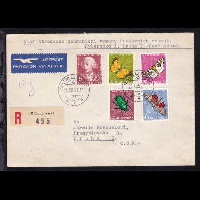 Pro Juventute 1957 auf Luftpost-R-brief ab Mümliswil 24.XII.57 nach Prag