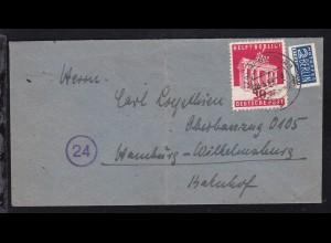 Berlin-Hilfe 20+10 Pfg. auf Brief ab Rendsburg 28.3.49 nach Hamburg-