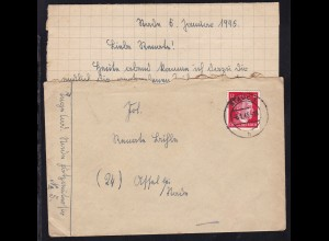 Hitler 12 Pfg. auf Brief mit Inhalt ab Stade 6.1.45 nach Assel bei Stade
