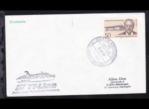 DEUTSCHE SCHIFFSPOST MS Robin Hood TT-Line TRAVEMÜNDE-TRELLEBORG 06.04.86