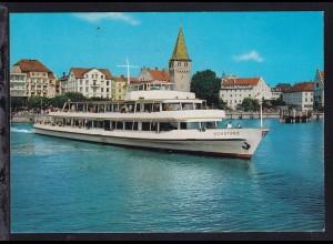 """MS """"Konstanz"""" im Lindauer Hafen, Karte rs Klebestreifen"""