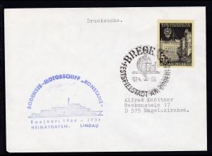 OSt. Bregenz 07.4.66 + Cachet MS Konstanz auf Brief