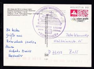 OSt. Romanshorn 17.9.98 + Cachet MS Konstanz auf CAK (MS Algäu im Lindauer