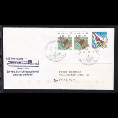 OSt. Schaffhausen 20.11.98 + Cachet MS Konstanz auf Brief