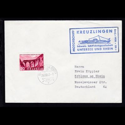 OSt. Stein am Rhein 26.VIII.63 + Cachet MS Kreuzlingen auf Brief