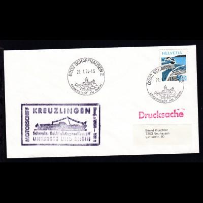 OSt. Schaffhausen 29.1.74 + Cachet MS Kreuzlingen auf Brief