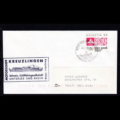 OSt. Schaffhausen 20.11.98 + Cachet MS Kreuzlingen auf Brief