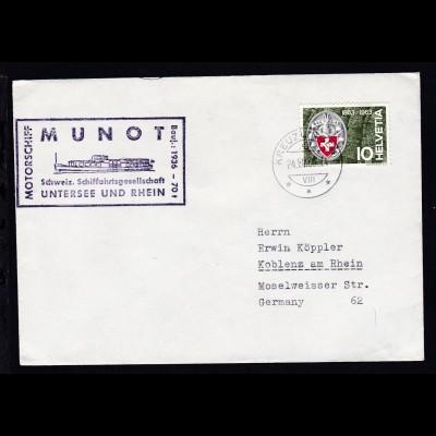 OSt. Kreuzlingen 24.VIII.63 + Cachet MS Munot auf Brief