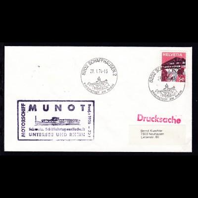 OSt. Schaffhausen 29.1.74 + Cachet MS Munot auf Brief