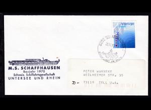 OSt. Schaffhausen 20.11.98 + Cachet MS Schaffhausen auf Brief