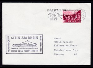 Maschinenstempel Kreuzlingen 24.VIII.1963 + Cachet MS Stein am Rhein auf Brief
