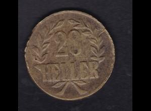 Deutsch-Ostafrika 20 Heller Tabora 1916 schmale Krone Messing, S