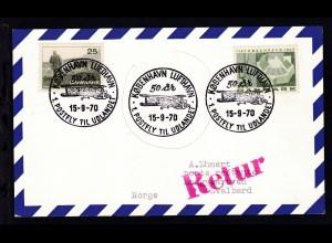 K1 KOBENHAVN LUFTHAVN 50 ar 1. POSTFLY TIL UDLANDET 15-7-70 auf Postkarte