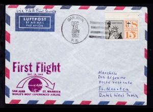 PANAM-Erstflugbrief San Juan-St. Maarten DEC 18 1962