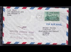 Lufthansa-Erstflugbrief New York-Hamburg APR 5 1958