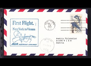 AUA-Erstflugbrief New York-Wien APR 1 1969