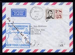 PANAM-Erstflugbrief New York-London JAN 21 1970, Brief senkr. Bug