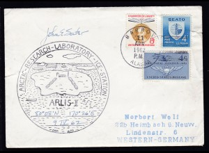 USA Maschinenstempel Barrow Alaska 11 APR 1962 + Cachet ARLIS-II auf Brief,